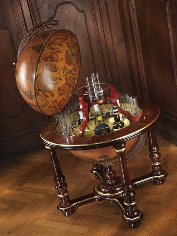 Elite vintage globe bar Afrodite - studio photo, open