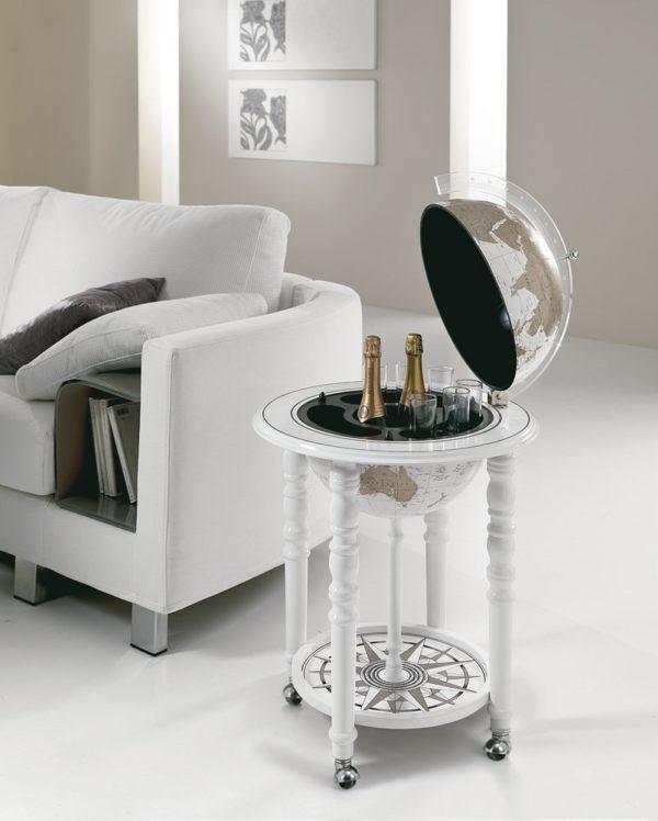 Designer Elegance modern globe bar - white, studio photo