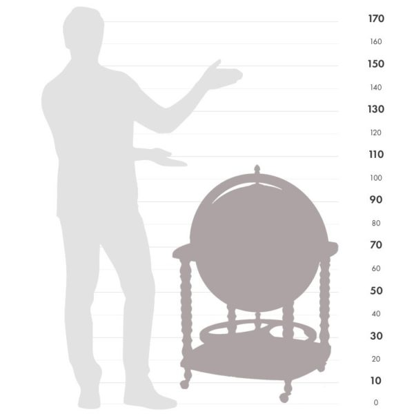Image of Caronte bar globe size chart graphic.