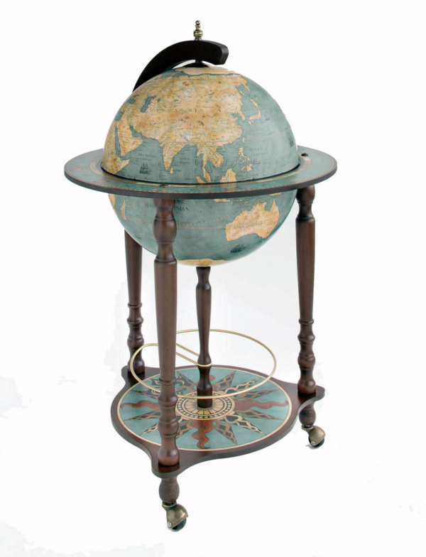 Da Vinci floor globe drinks cabinet - blue dust, closed, product photo