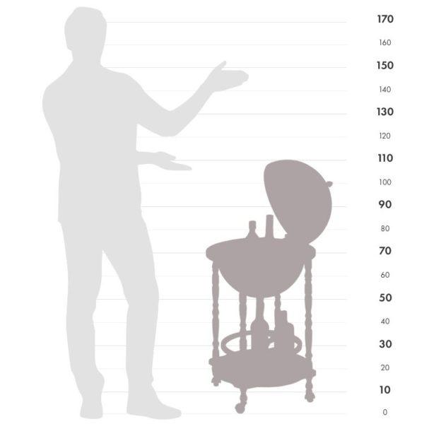 Size chart graphic of Enea floor globe bar