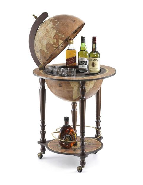Da Vinci floor globe drinks cabinet - rust, open, product photo