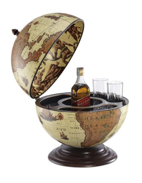 Fine Vintage table top bar globe - safari, product photo - open