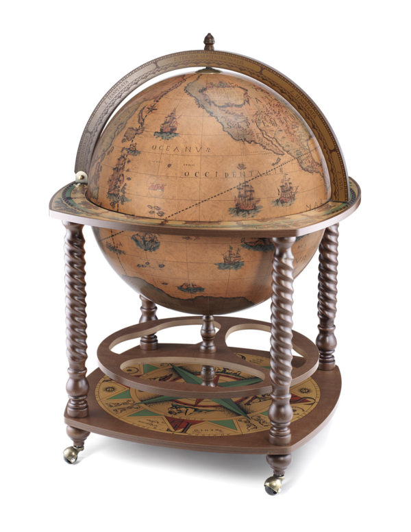 Caronte extra large globe bar cabinet - classic, closed view, product photo