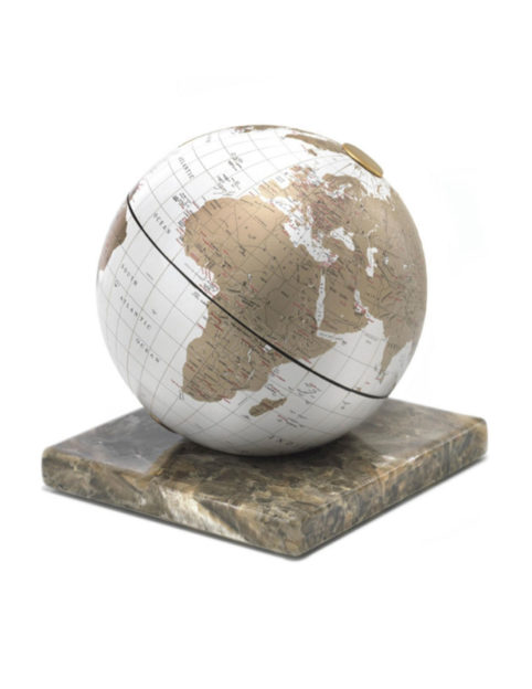 Catalog photo for white desk globe on marble base