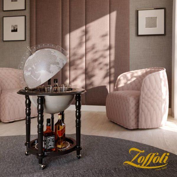 Image of Designer Elegance modern globe bar - black, studio photo with Zoffoli logo